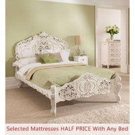 Rococo Antique French Style Bed - Half Price Mattress Bundle