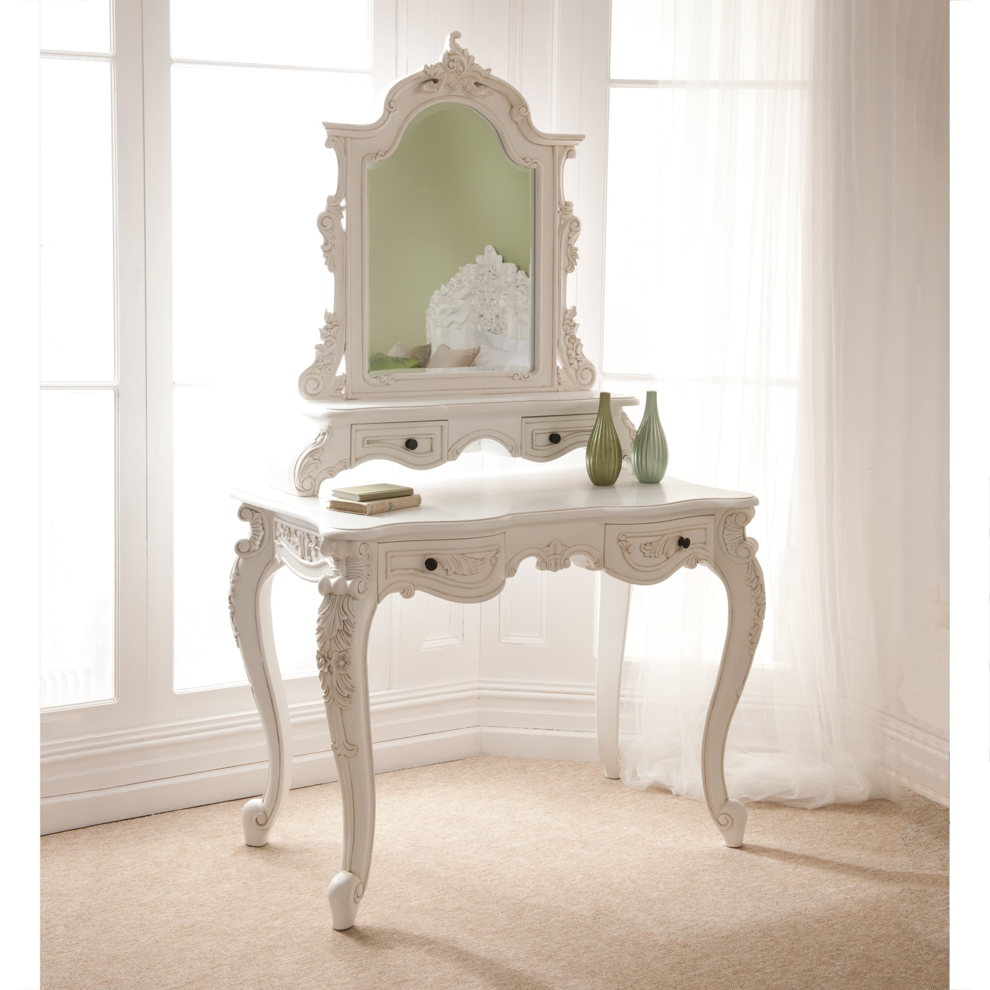 Rococo antique french dressing table white bedroom furniture for French style bedroom furniture