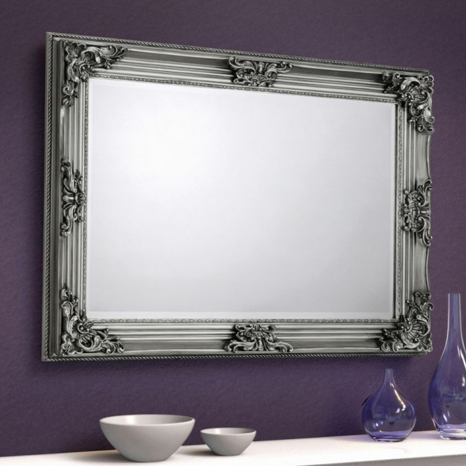 Rococo Pewter Antique French Style Wall Mirror Elegant