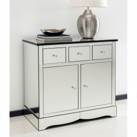 Romano Crystal Mirrored Cabinet With Cupboards & Drawers
