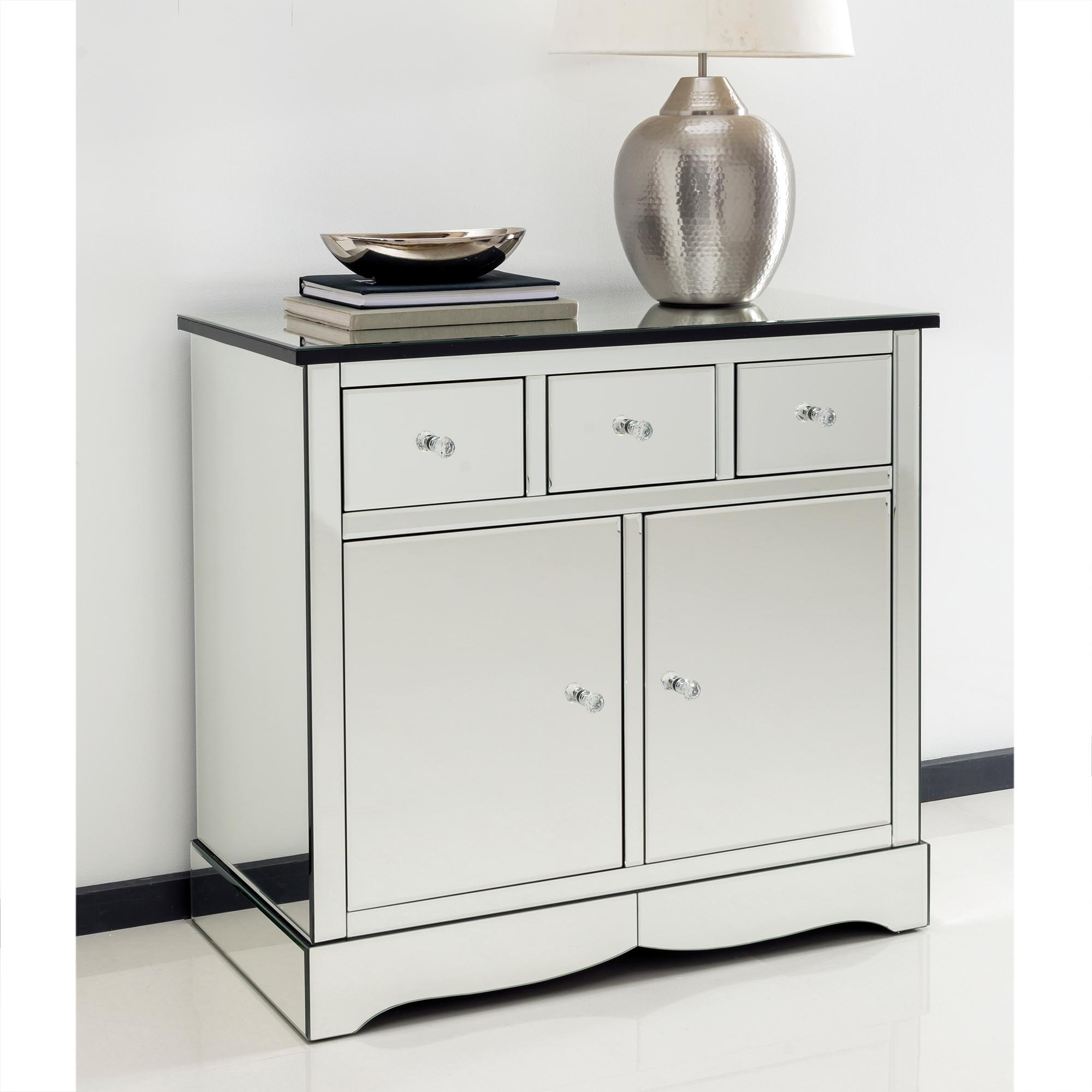 Romano crystal mirrored cabinet with cupboards drawers for Mirrored console with drawers