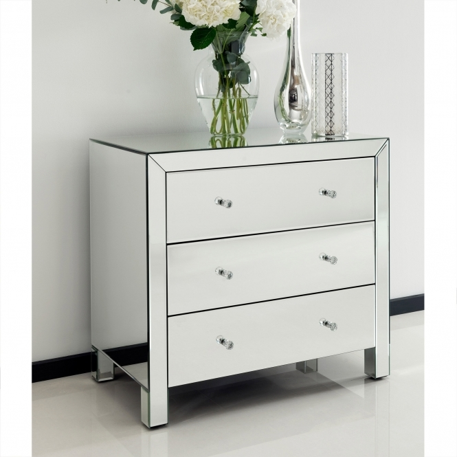 Romano Crystal Mirrored Chest 3 Drawer