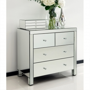 Romano Crystal Mirrored Chest 4 Drawer
