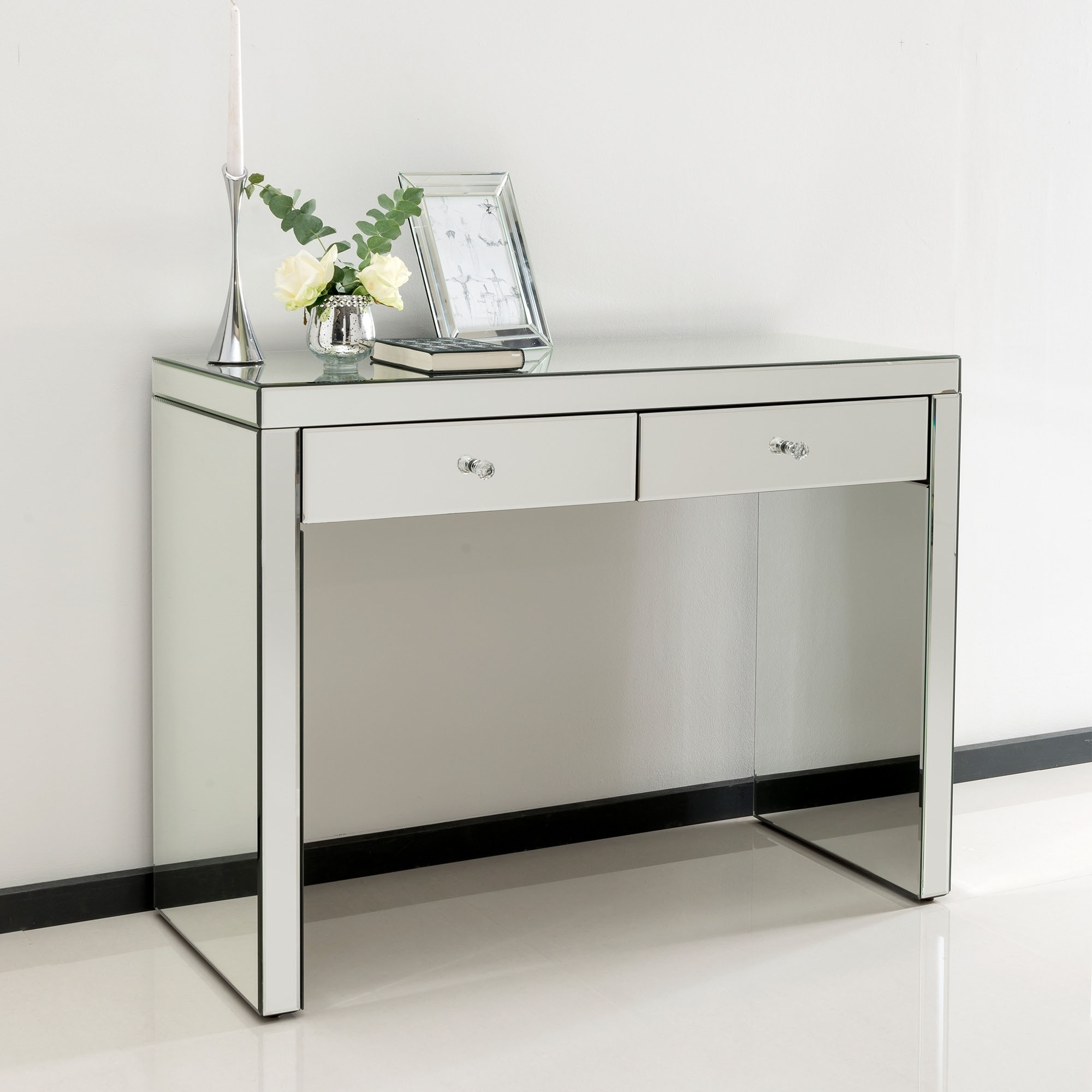 Romano Crystal Mirrored Dressing Table Venetian Mirrored Furniture