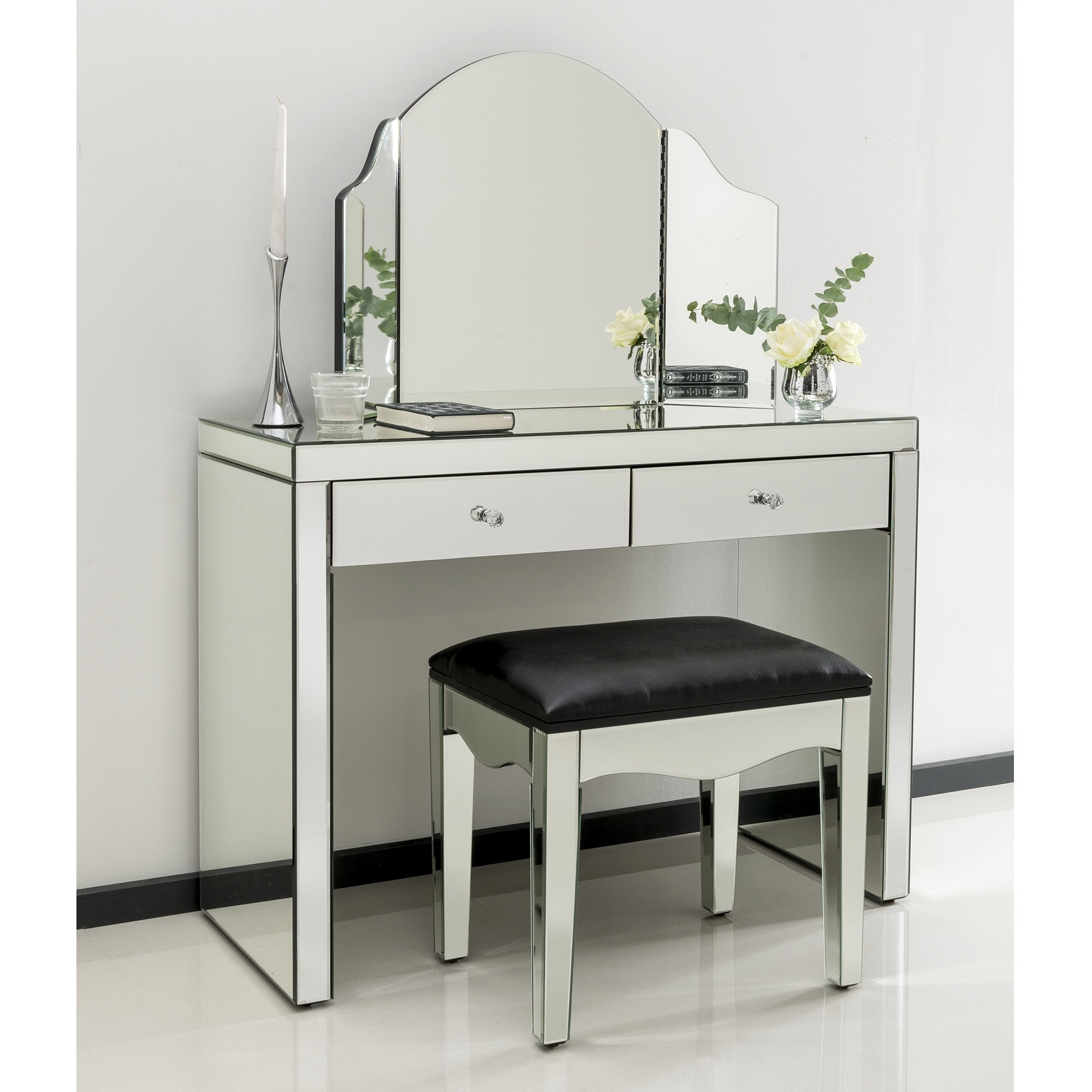 Romano Crystal Mirrored Dressing Table Set Venetian