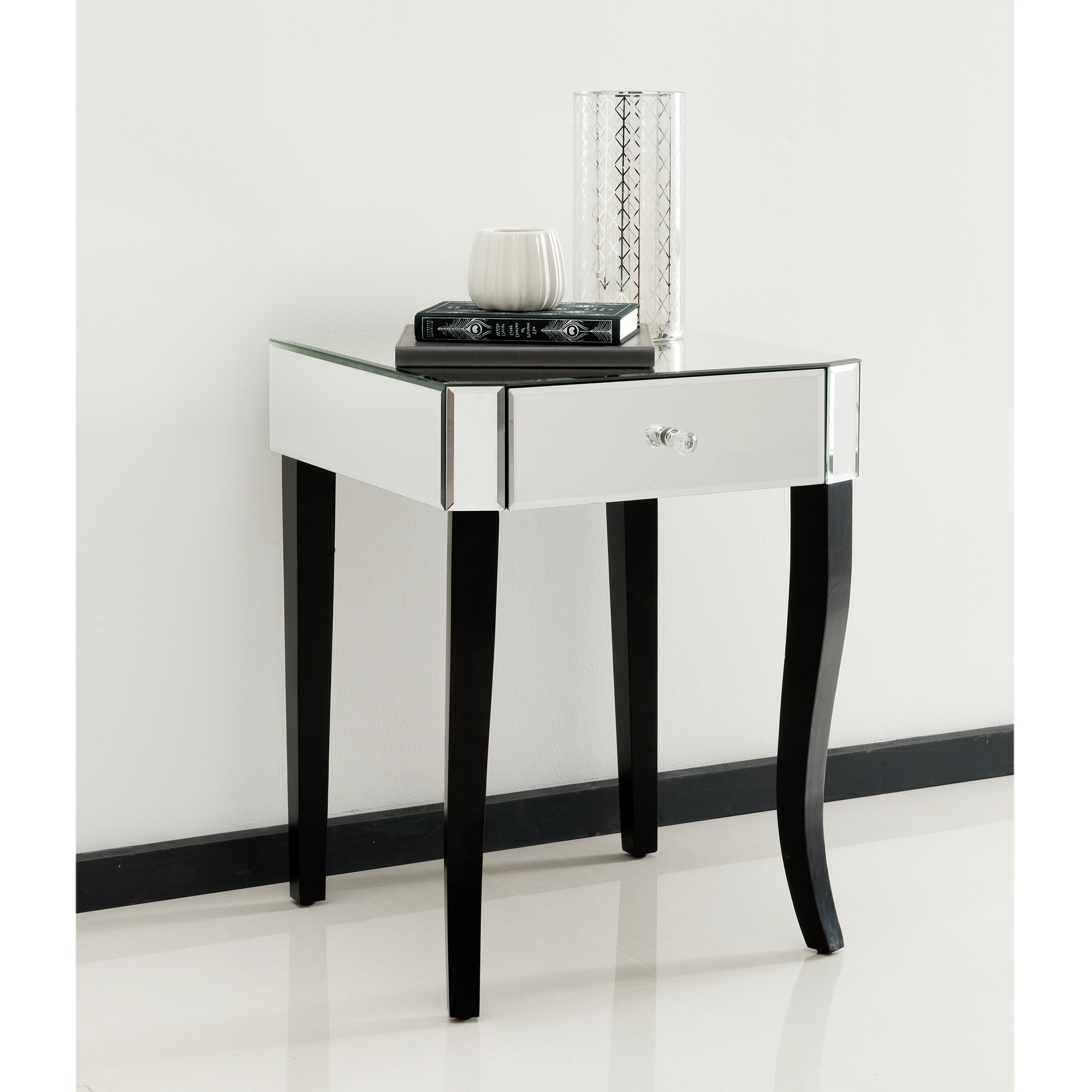 mirrored side table. Romano Crystal Mirrored Side Table I