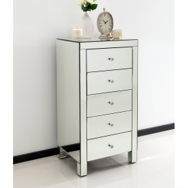 Romano Crystal Mirrored Tallboy Chest
