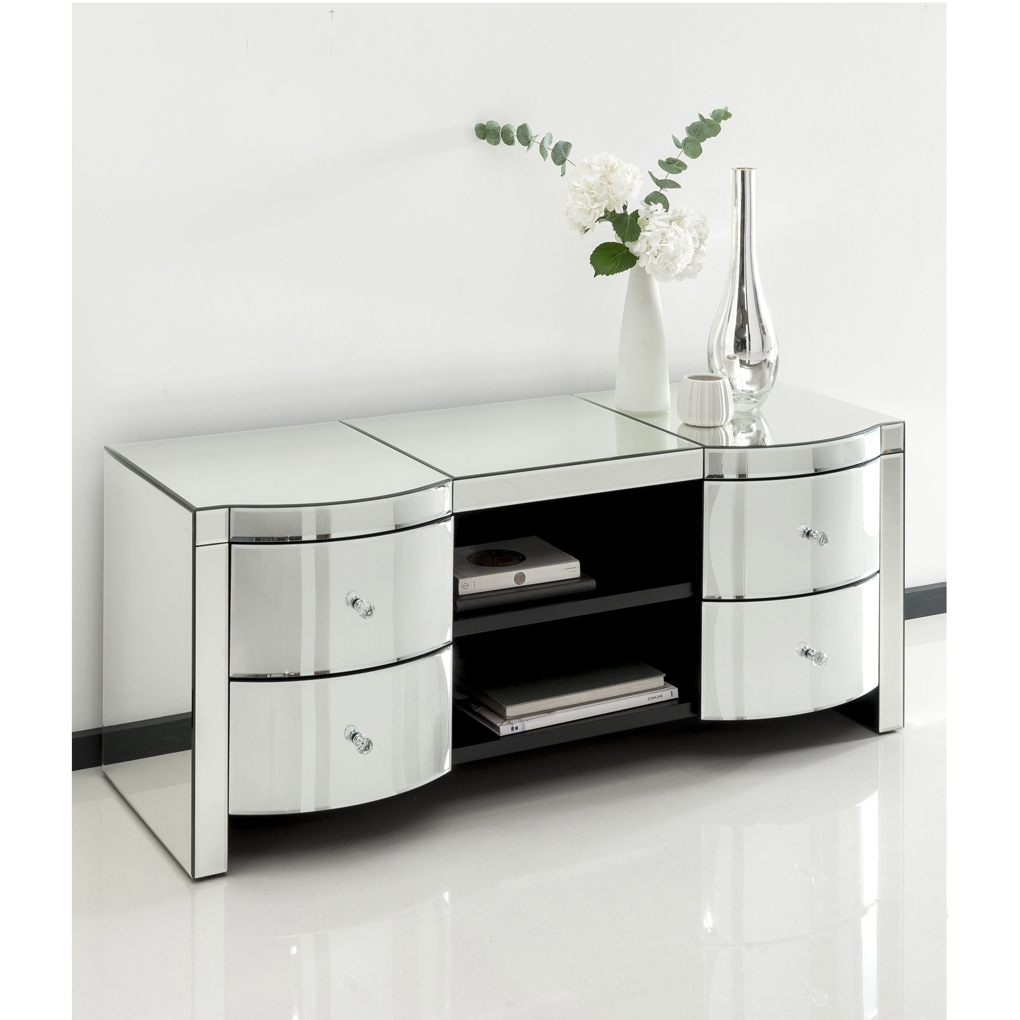 Mirrored Cabinet: Romano Crystal Mirrored TV Cabinet