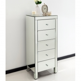 Romano Crystal Small Mirrored Tallboy Chest