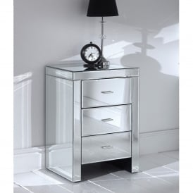 Romano Mirrored Bedside 3 Drawer