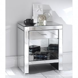 Romano Mirrored Bedside & Shelf