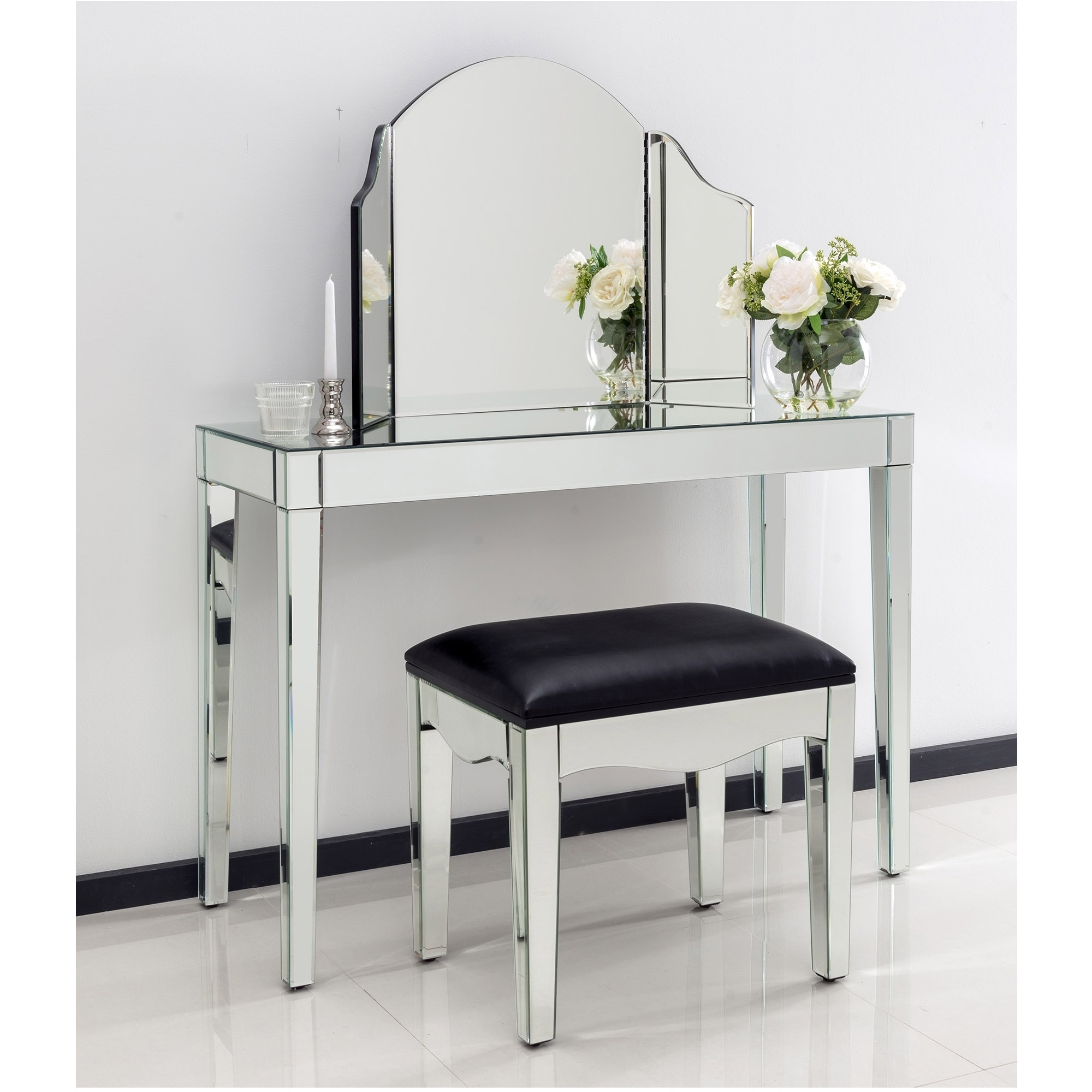 Romano mirrored console table set glass furniture romano mirrored console table set geotapseo Image collections