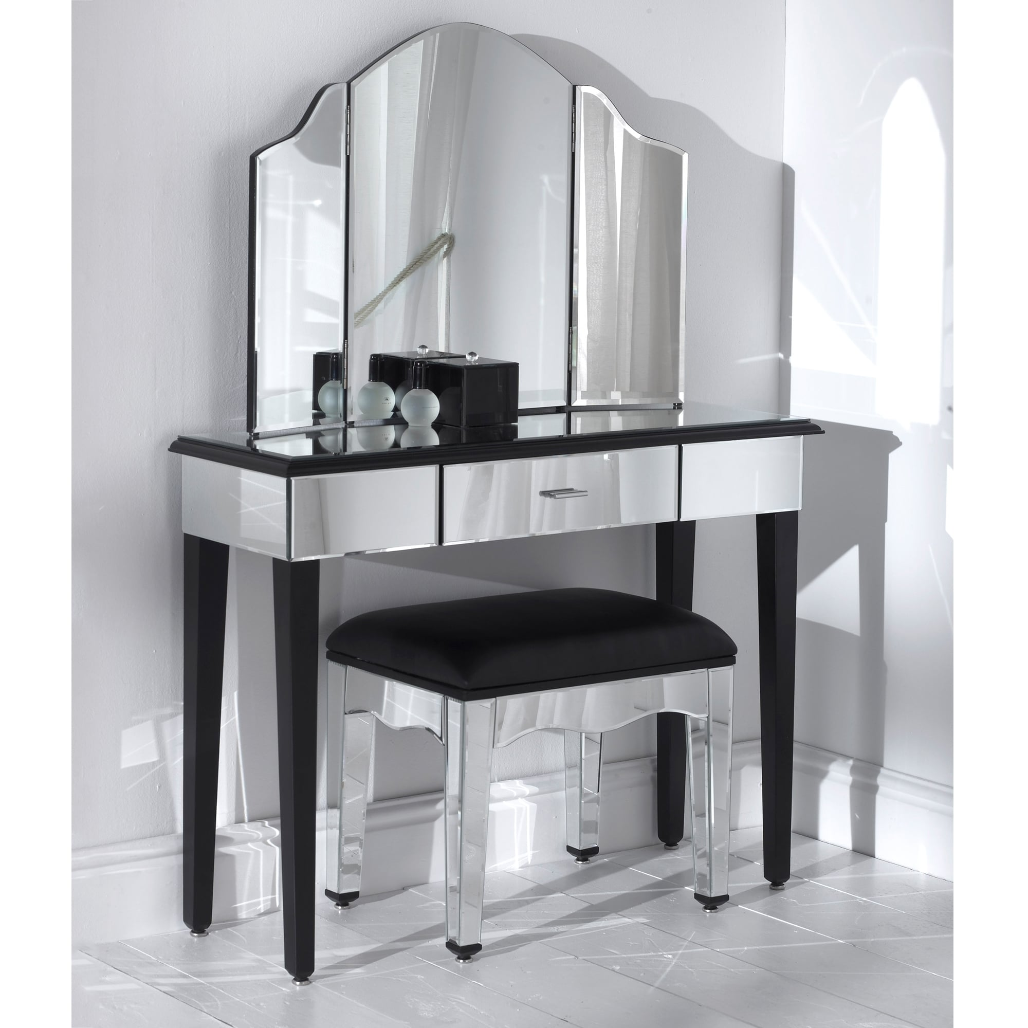 Romano Mirrored Console Table Set  sc 1 st  HomesDirect365 & Romano Mirrored Console Table Set - French Furniture from ...