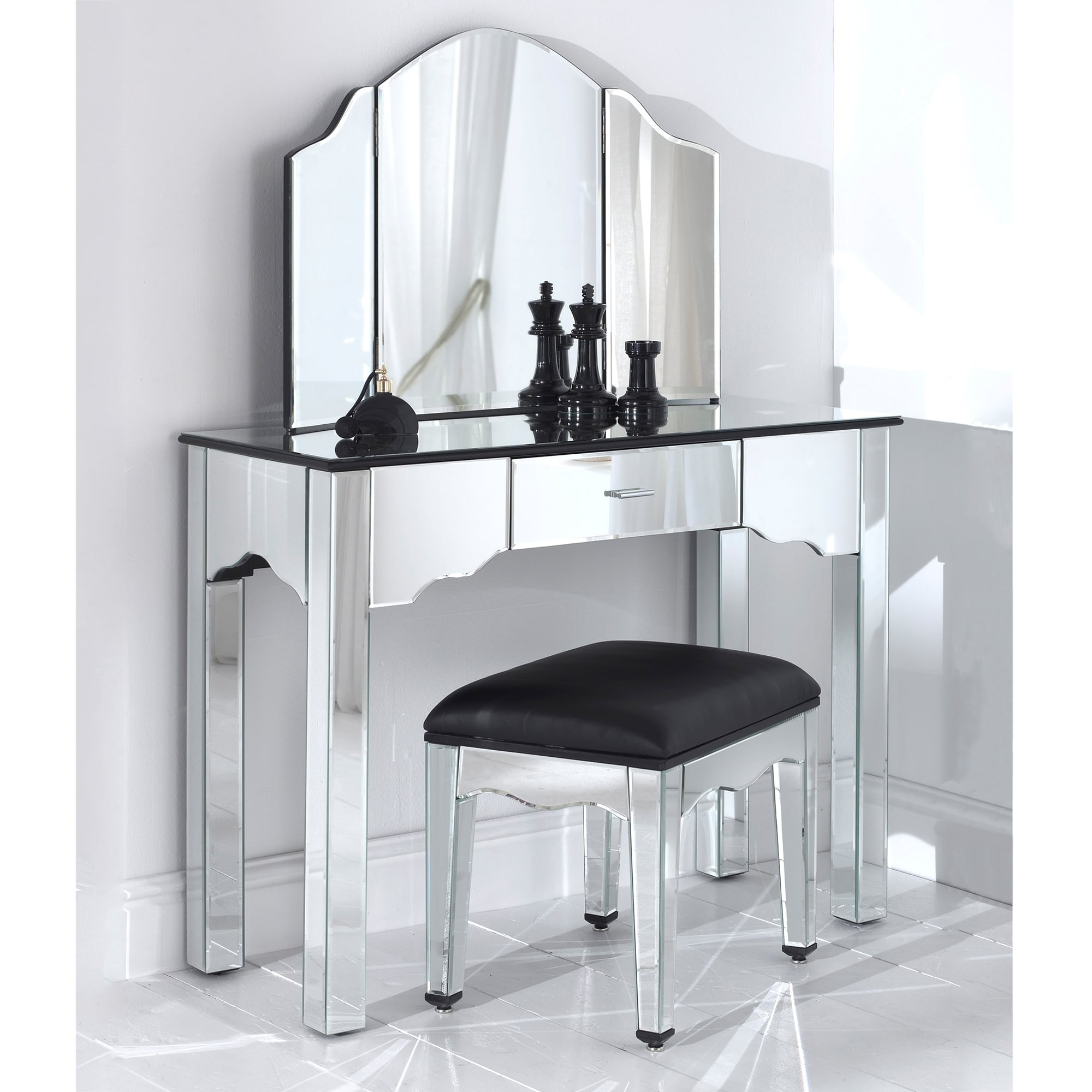 Venetian mirrored dressing table set with stool for Small vanity set