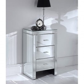Romano Mirrored Slim Bedside Table