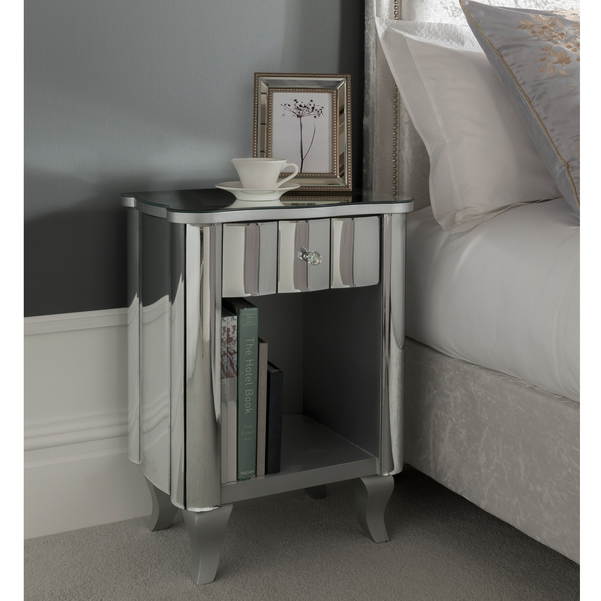Rome Mirrored Bedside Table Venetian Mirrored Furniture