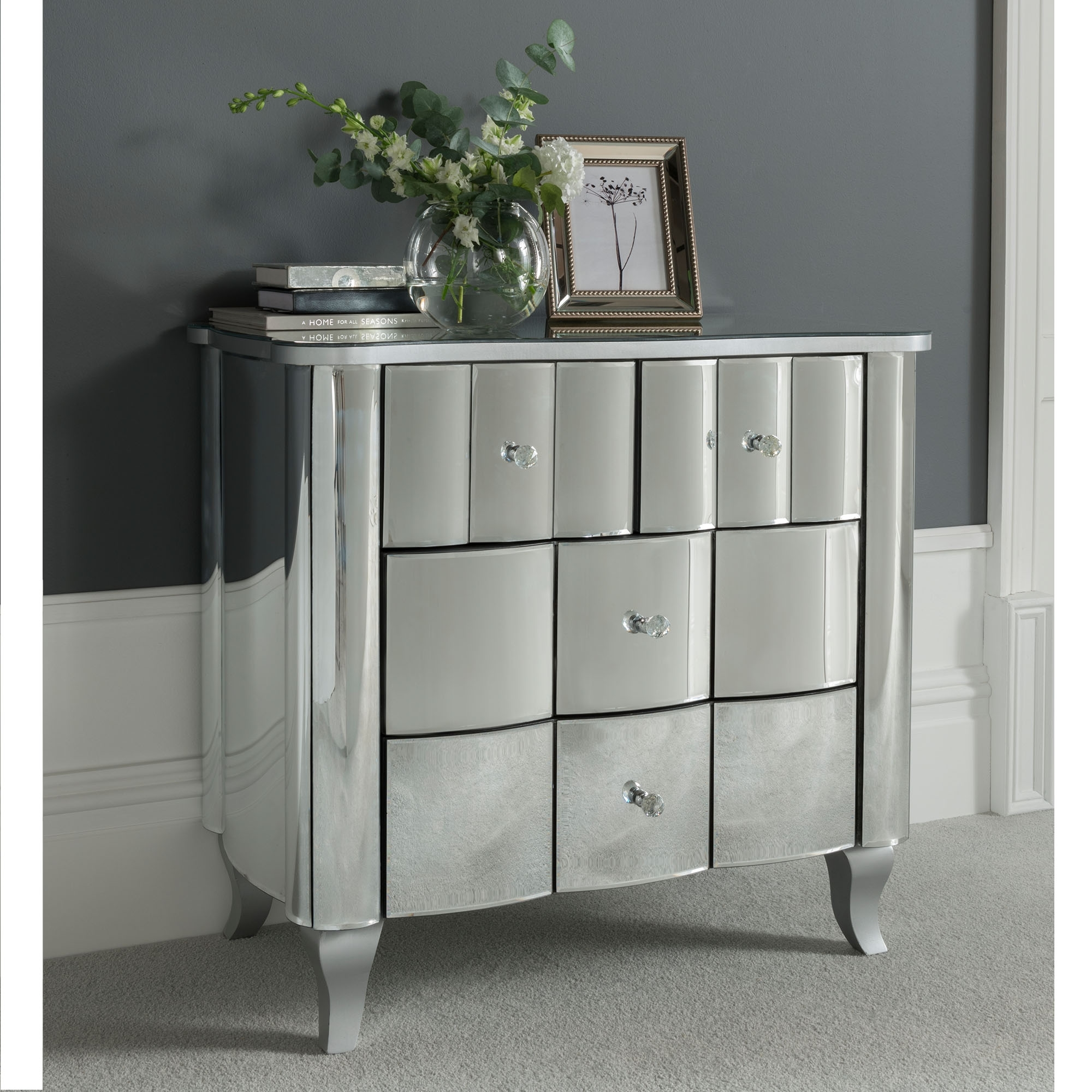 rome mirrored chest of drawers venetian mirrored furniture. Black Bedroom Furniture Sets. Home Design Ideas