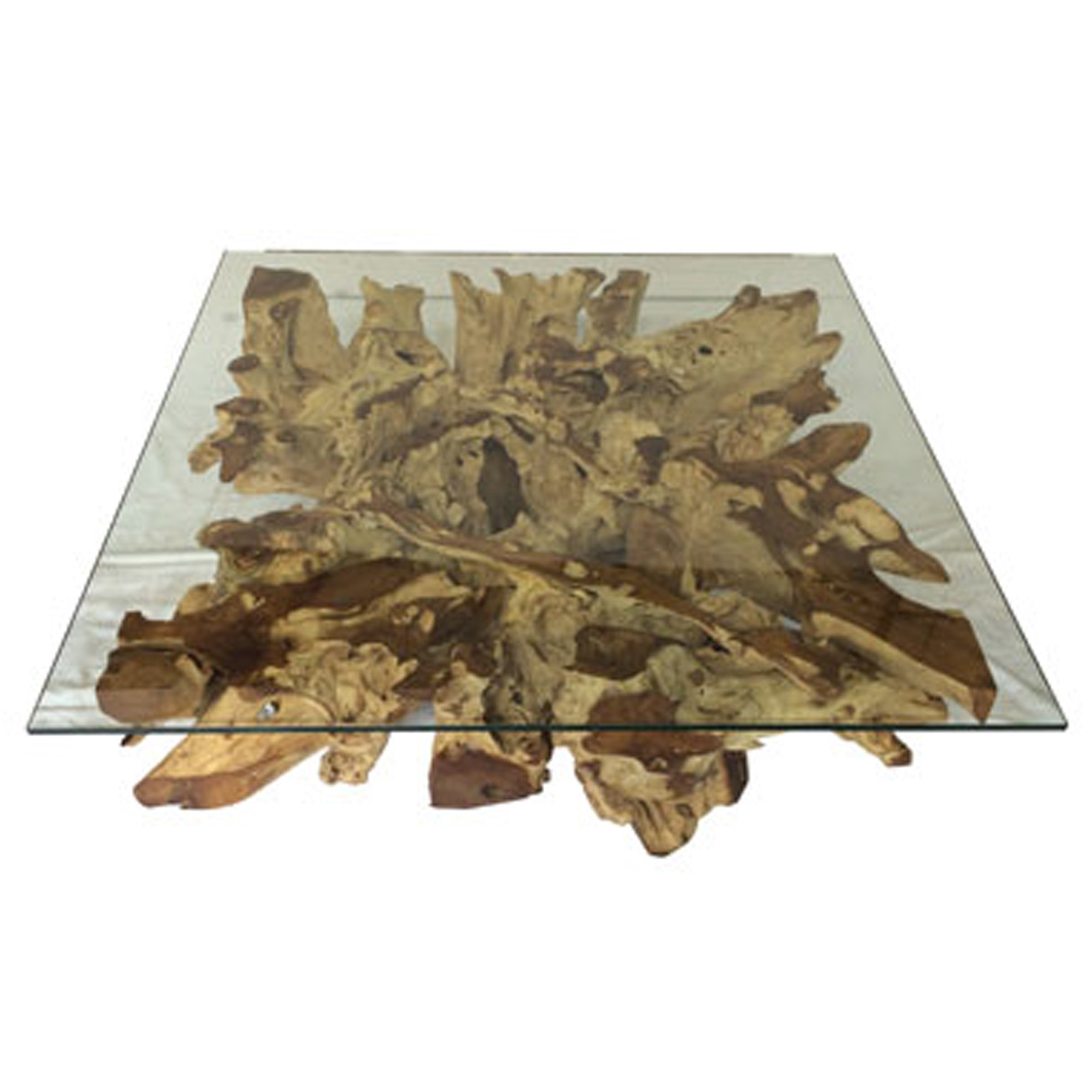 Root Spider Stone Square Coffee Table Medium With 110cm X 110cm Glass Wooden Coffee Table Wood And Glass Coffee Table