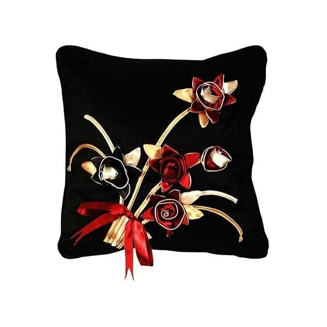 Rose Black Cushion