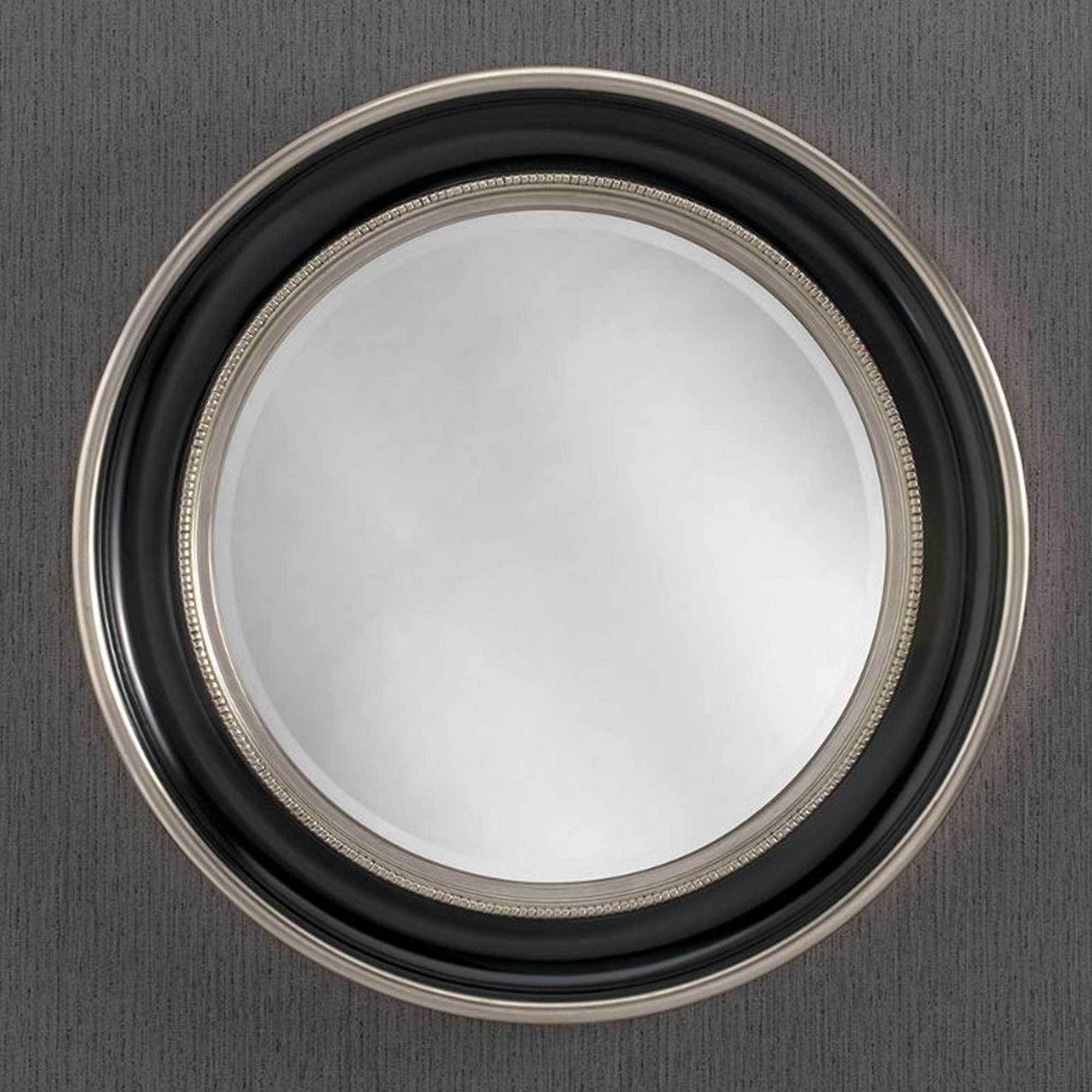 Round Black & Silver Contemporary Wall Mirror   HomesDirect365