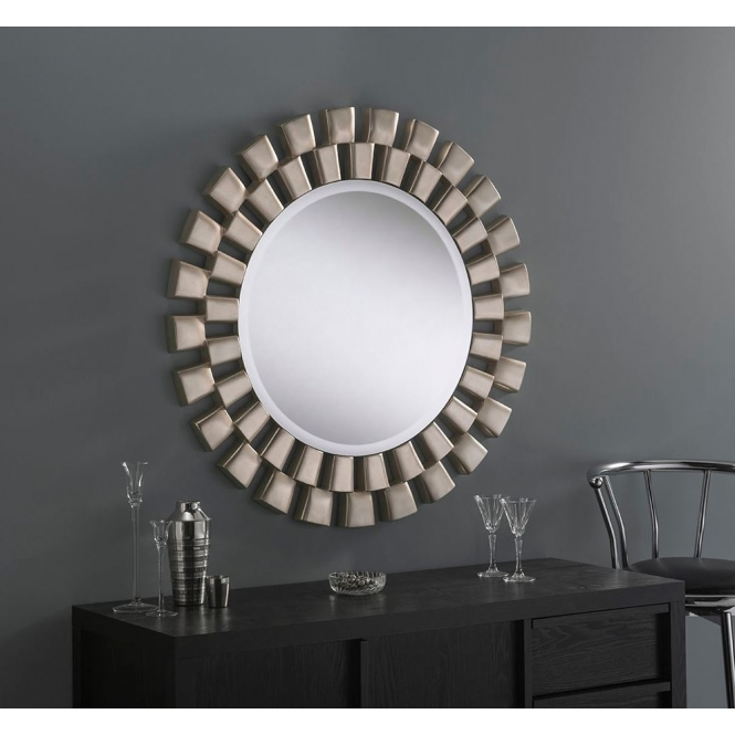 Round Contemporary Silver Leaf Wall Mirror