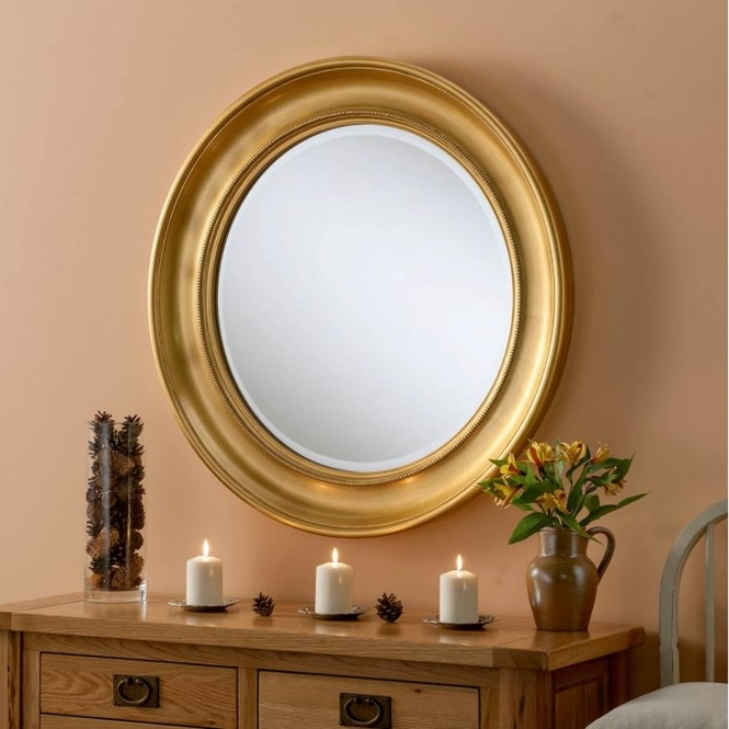 Round Gold Contemporary Wall Mirror Mirrors Homesdirect365
