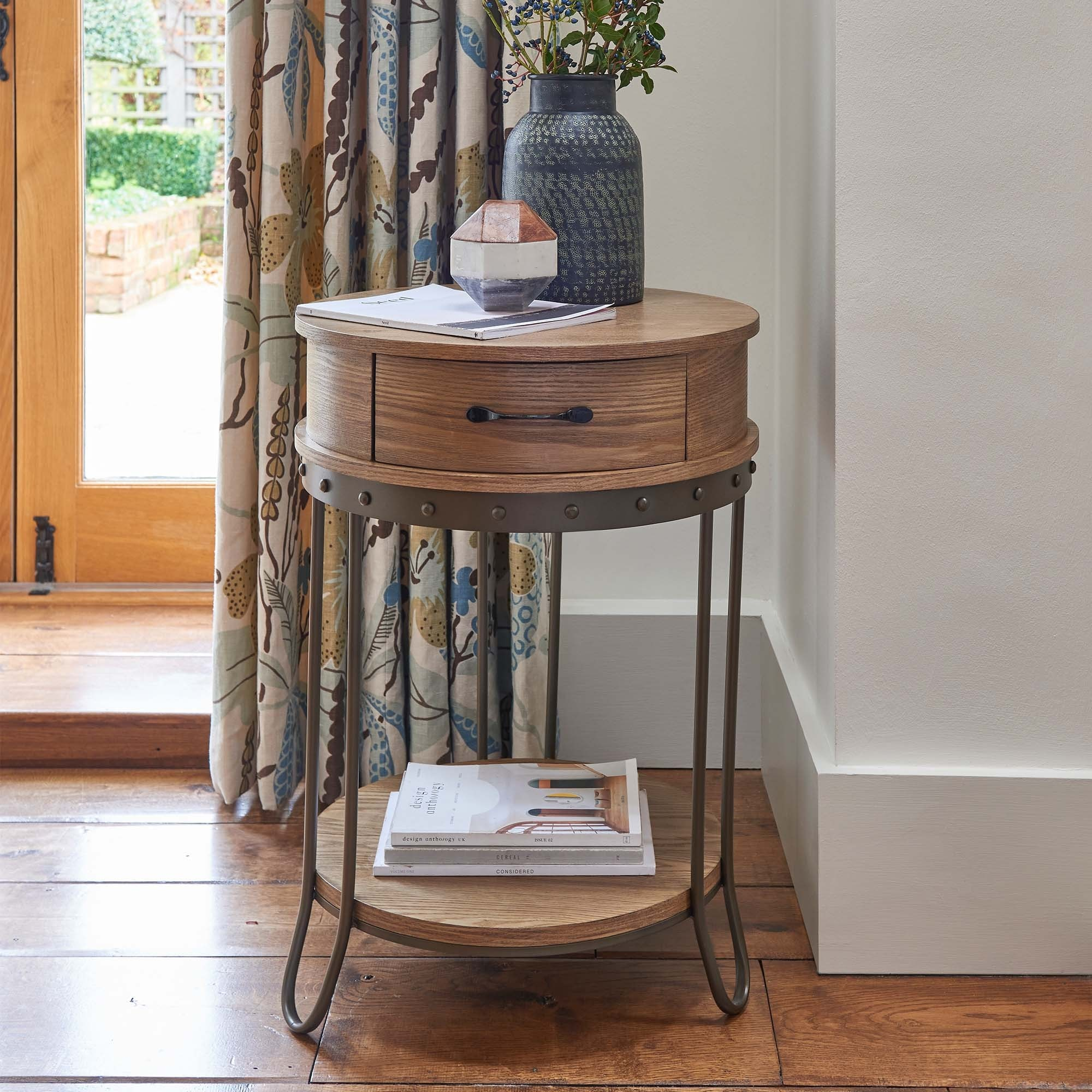 Round Industrial 1 Drawer Side Table Side Table Wooden Side Table