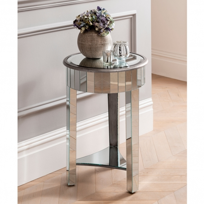 Round Venetian Mirrored Side Table