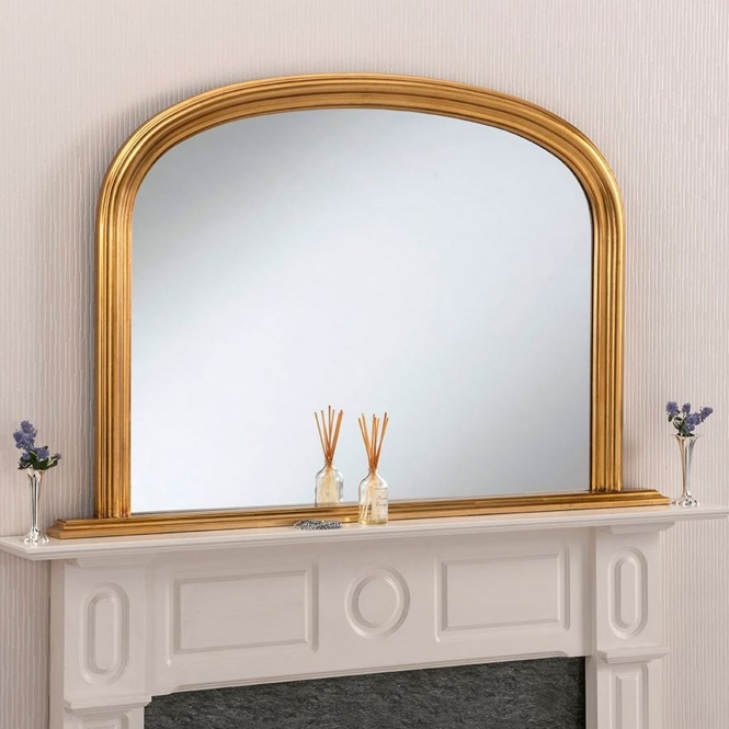 Rounded Decorative Gold Overmantle Mirror