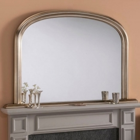 Rounded Decorative Silver Overmantle Mirror