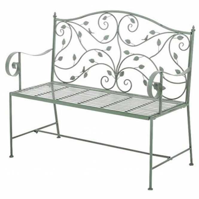 Rusty Blue Antique French Style Outdoor Bench