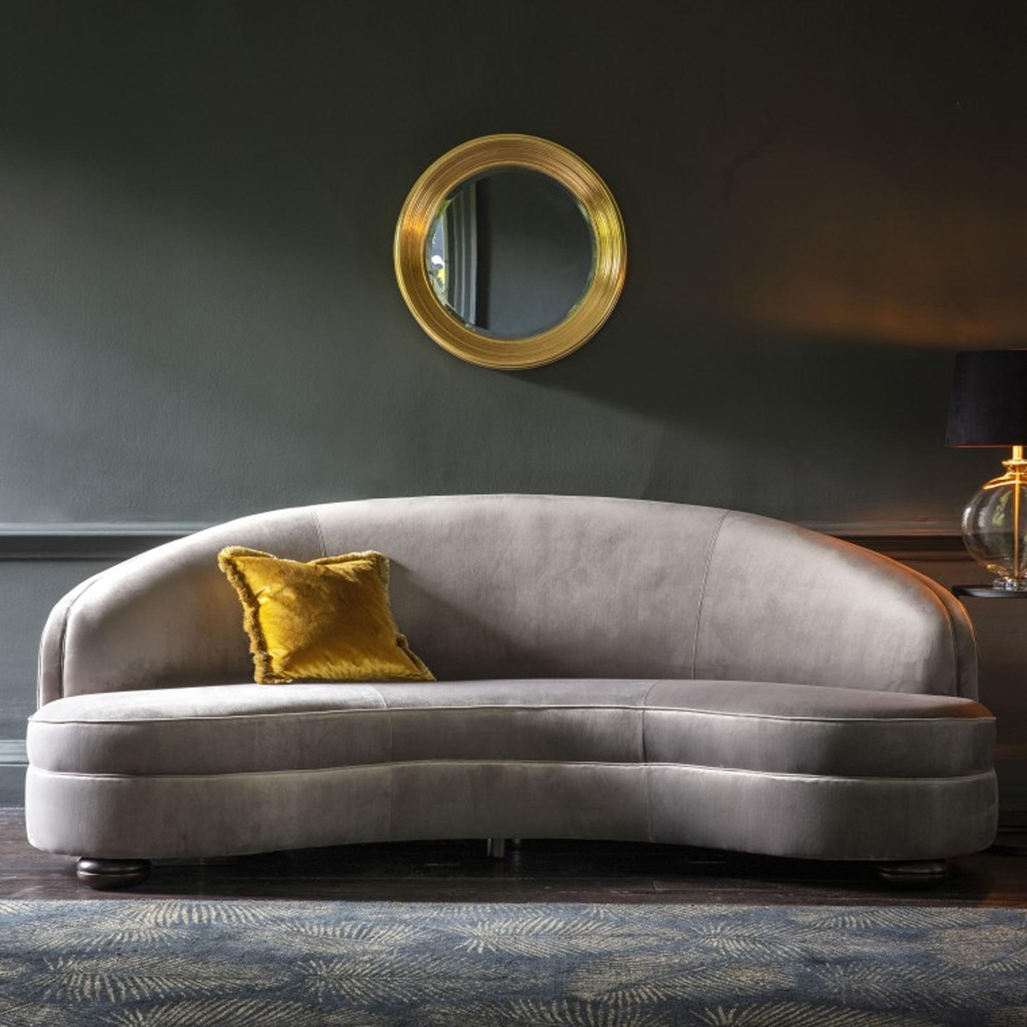 Picture of: Sanza Sofa Grey Velvet Modern Sofa Curved Sofa Grey Velvet Sofa