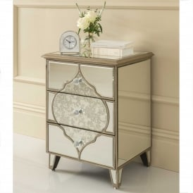 Sassari Mirrored Bedside Table