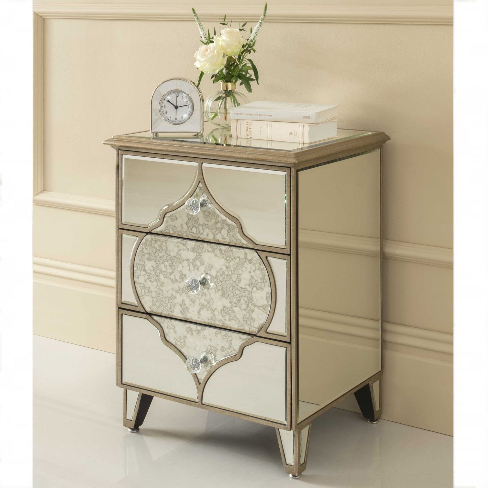 Sassari mirrored bedside table venetian glass furniture for Glass furniture