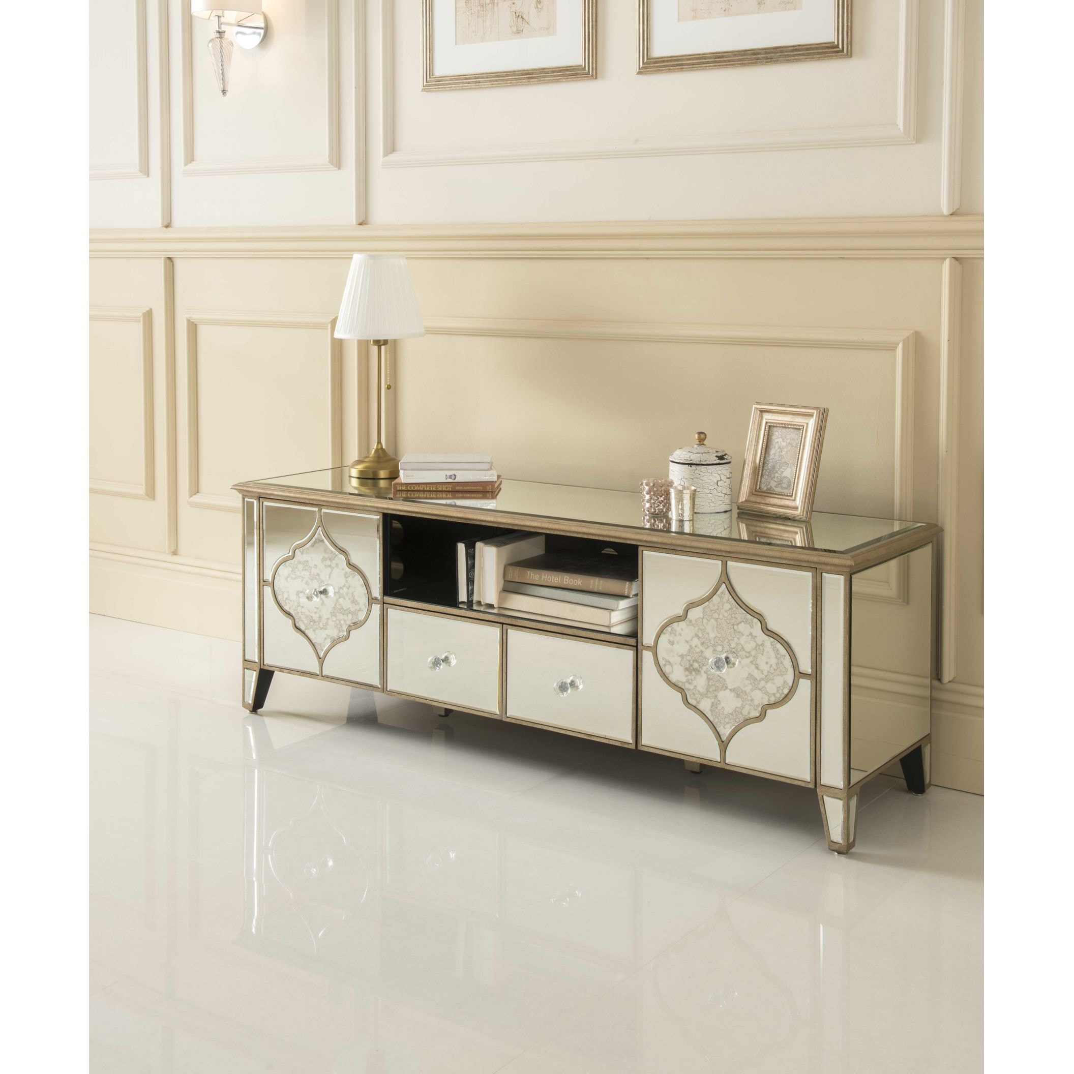 Mirrored Glass Kitchen Cabinets: Sassari Mirrored TV Cabinet