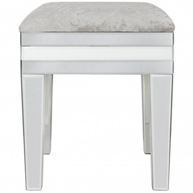 Savona White Mirrored Stool