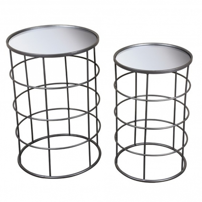 Set of 2 Alexander Mirrored Cylindrical Tables