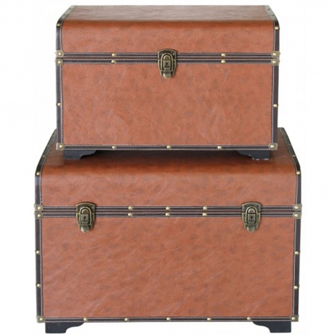 Set Of 2 Brown Faux Leather Trunks
