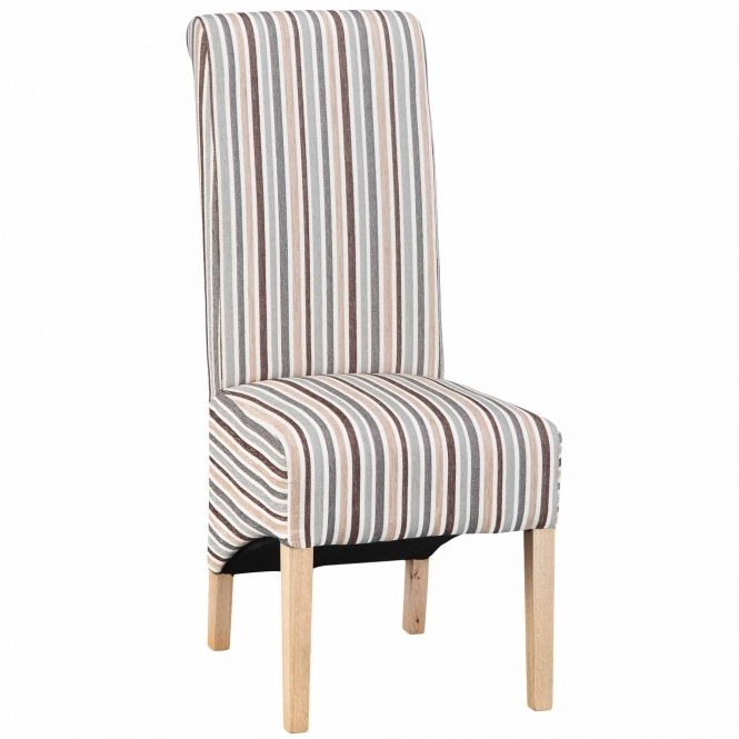 Set of 2 Duck Egg Blue Stripe Scroll Back Chairs