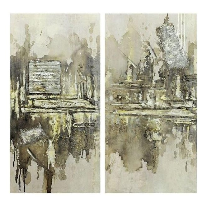 Set Of 2 Hazy City Canvas
