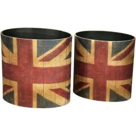 Set Of 2 Vintage Union Jack Waste Bins