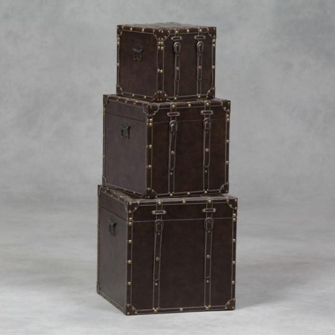 Set Of 3 Antique French Style Leather Trunks