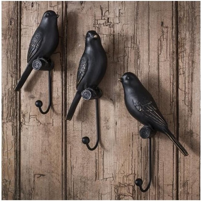Set Of 3 Avery Resin Bird Hooks