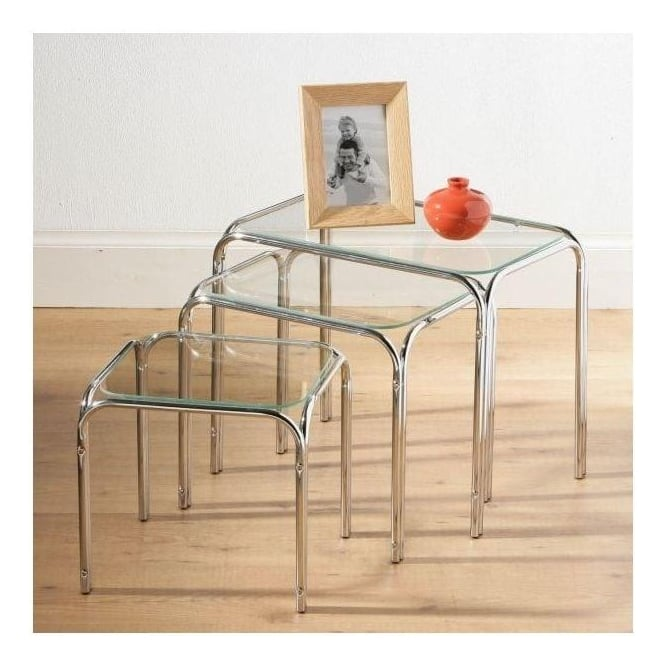 Set of 3 Clear Glass Top Nesting Tables