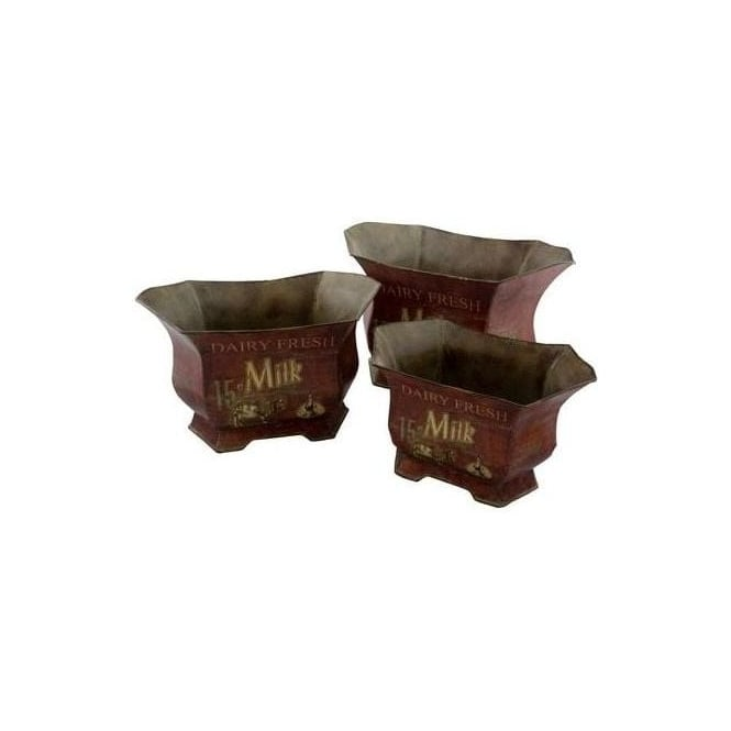 Set of 3 Dairy Fresh Planters