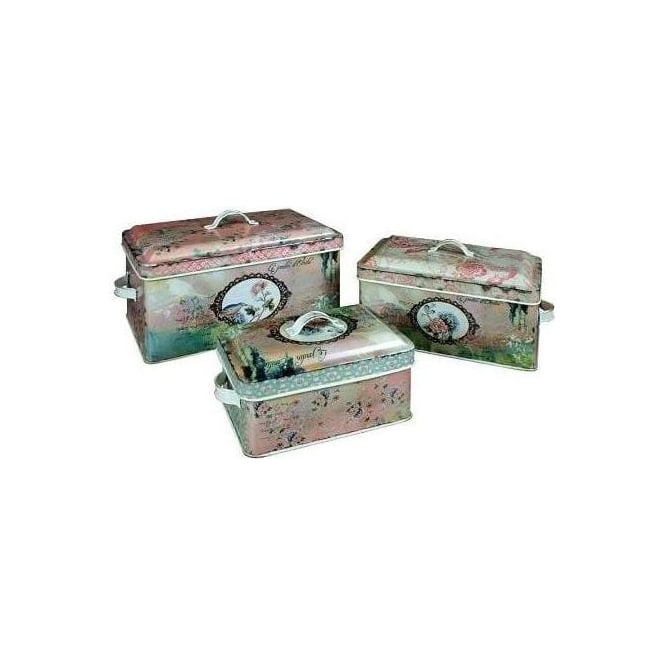 Set Of 3 Emilie Lidded Tin Set