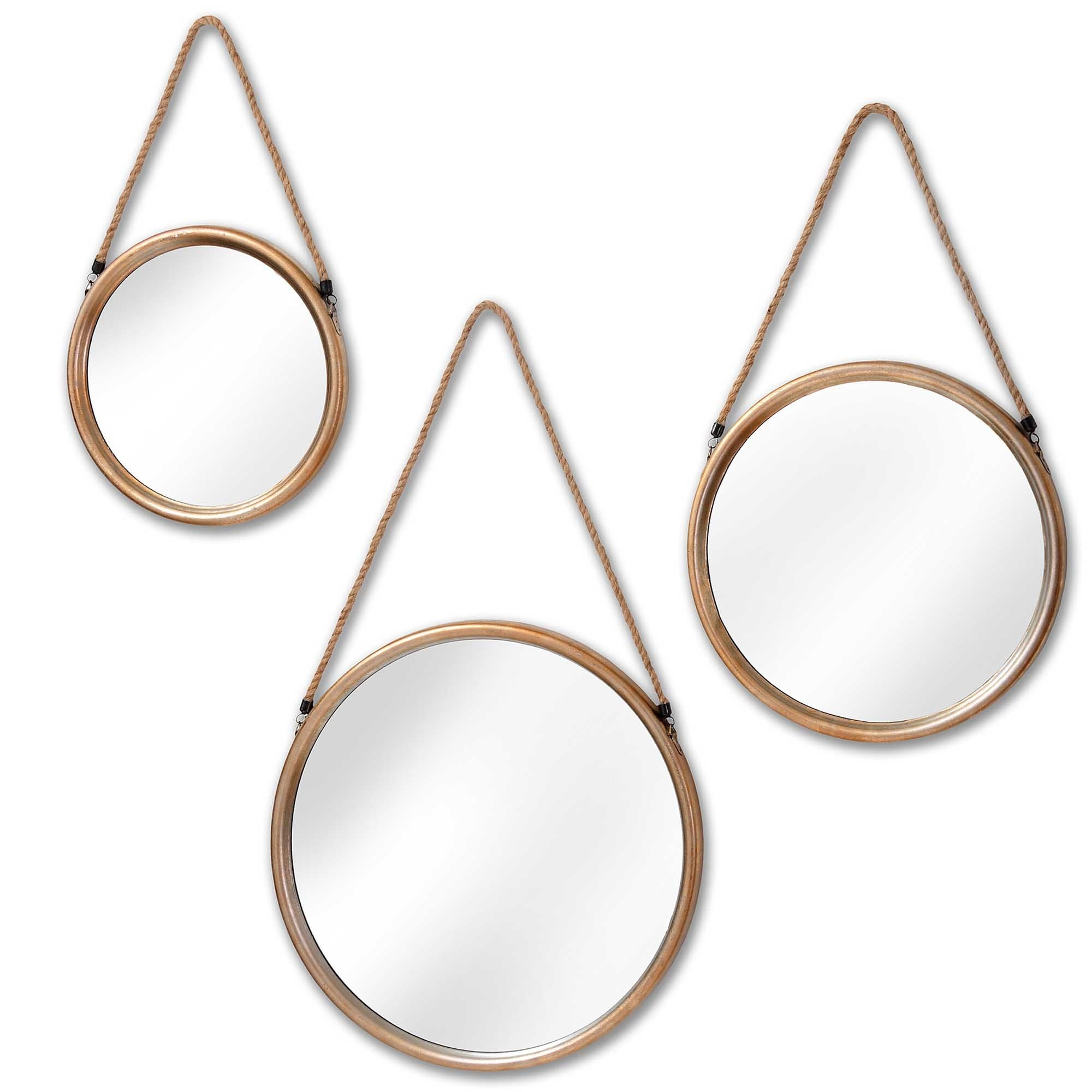 Set Of 3 Hanging Round Gold Wall Mirrors Decor Homesdirect365