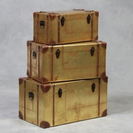 Set Of 3 Industrial Travel Trunks