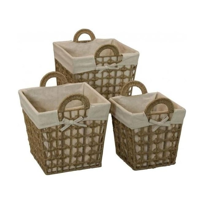 Set Of 3 Linen And Jupe Square Baskets
