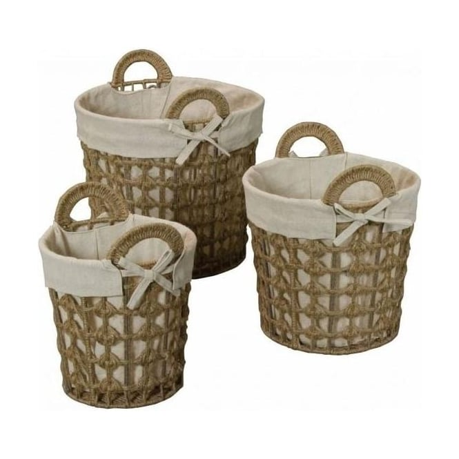 Set of 3 Linen and Jute Baskets